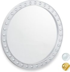 Relaxdays spiegel rond - sierspiegel gang - wandspiegel - design - 50.5 cm rond - modern zilver