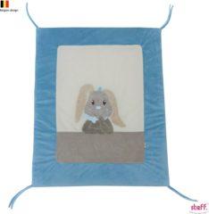 "Blauwe Steff konijntje blauw ""Rabbit"" parktapijt boxkleed 95x75 cm"