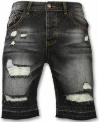 Enos Korte Broeken Heren - Slim Fit Ripped Shorts - Zwart Heren Short W32
