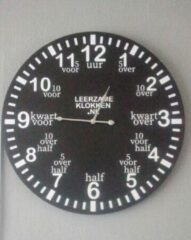 Witte Leerzameklokken.nl Leer klokkijken-leerzame klok- wandklok 60 cm zwart