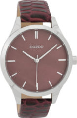 OOZOO Timepieces Horloge Croco Burgundy   C9722