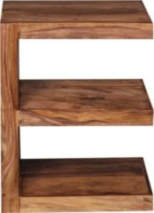 """Wohnling WOHNLING Beistelltisch Massivholz Sheesham """"E"""" Cube 60cm hoch Wohnzimmer-Tisch Design braun Landhaus-Stil Couchtisch"""