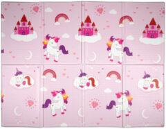 Witte Let's Play Speelkleed - Speelmat - Luiermat - Opvouwbaar - Hypo-allergeen - 90 X 120 X 0,8 Cm - Eenhoorns En Regenbogen