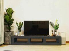Zwarte Betonlook TV-Meubel open vakken | Black Steel | 100x40x40 cm (LxBxH) | Betonlook Fabriek | Beton ciré