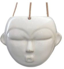Present Time Bloempotten Hanging plant pot Mask round glazed Wit