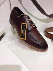 Donkerbruine Pantera Pelle Leather Shoes Volledig Lederen Herenschoen, bruin rood, maat 43