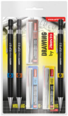 Zwarte Vulpotlodenset Aristo HB 0.35/0.5/0.7mm met gratis potloodstiftjes