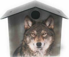 Go4sfeer Vogelhuisje Handgemaakt Nestkast Vogels Huisje Tuinvogels Tuin Met Wolf Afbeelding Weersbestendig