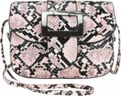 Nicole Brown Schoudertas slangenprint roze, ecoleder 13 x 17 cm - Handtassen Dames - Schoudertassen Vrouw