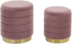 Beliani Poef set van 2 fluweel roze GARLAND