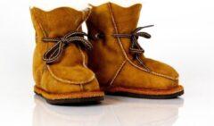 Bernardino baby slof wol/leer cognac Unisex - Maat 23