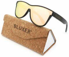 Bluxer® Zonnebril voor Heren en Dames Polaroid - Hippe Houten Zonnebril Gepolariseerd - UV400 Lens - Bamboo (Drijvende Zonnebril) - Roze Lens