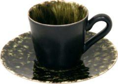 Groene Costa Nova Riviera - servies - theekopje met schotel - Forest - 0,08L - aardewerk - set van 6