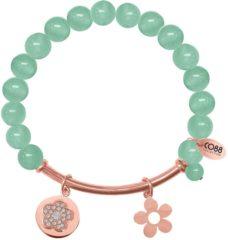 Roze CO88 Collection 8CB-50003 - Rekarmband met natuurstenen, stalen bar en bedels - groene Jade 8 mm - zirkonia bloem en open bloem - one-size - groen / rosékleurig