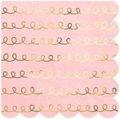 Roze Partydeco Poland Servetten Pink Swirl Gold (20 stuks)