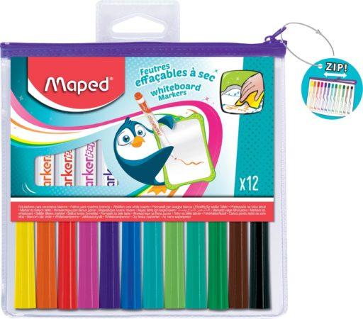Afbeelding van Witte Maped Marker'peps Whiteboardmarker, Etui Met 12 Stuks In Geassorteerde Kleuren