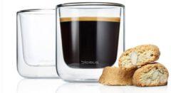 BLOMUS Dubbelwandig glas NERO koffie (set/4 stuks)