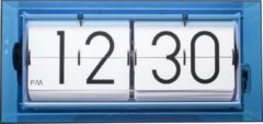 Blauwe NeXtime Big Flip Clear - Tafelklok / Wandklok - Flipklok - Acryl - 36x16,7x8,5 cm - Blauw