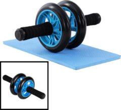 Decopatent® Ab Wheel - AB Roller - Wiel voor buikspieren - Trainingswiel - Incusief fitness Mat - Buikspier trainer - Wiel - Blauw