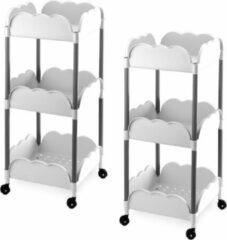 Witte Merkloos / Sans marque 2x Keuken/kelder trolleys/kastjes klein van kunststof 34,5 x 79 cm - Bijzetkastjes - Groentetrolleys
