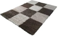 Karpetexpert.nl Hoogpolig Vloerkleed Blokjes Beige-120 x 170 cm