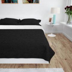 VidaXL Bedsprei dubbelzijdig 170x210 cm quilt zwart en wit