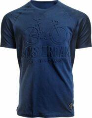 Marineblauwe Fox Originals Amsterdam Embossed Bike Unisex T-shirt Maat XS