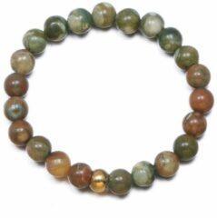 Yada Ring Kralen - Handgemaakt Natuursteen - Roestbruin/Groen gemengd