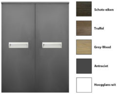 Grijze Kolomkast Sanicare Q2/Q3/Q8 2-Deurs Soft-Closing Alu Greep 90x67x32 cm Grey-Wood