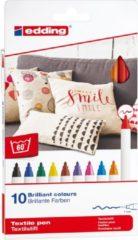 Edding textielmarker e-4600 in geassorteerde kleuren, blister van 10 stuks