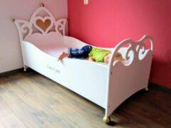 Roze Wildkidzz.com Peuterbed BELLE prinsessenbed 70x150 WIT-GOUD met matras