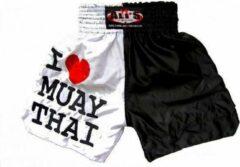Witte Ali's Fightgear TTBA-5 - Kickboks broekje I Love Muay Thai maat L