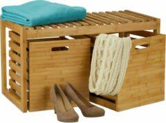 Naturelkleurige Relaxdays halbankje met opslagruimte - houten bankje - zitbank met kisten - bamboe - hout