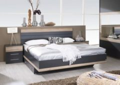 Rauch-PACKs Bett 180 x 200 cm mit Nako-Set grau-metallic/ Eiche Sanremo hell RAUCH PACKS Tarragona