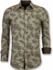 Tony Backer Italiaanse Blouse Mannen - Slim Fit Overhemd Heren - 3001 - Bruin Casual overhemden heren Heren Overhemd Maat L