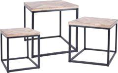 Zwarte Relaxwonen - Bijzettafel - Set van 3 - Vierkant - Metalen Onderstel - Houten Bladen - 40.5x40.5x45cm