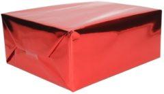 Shoppartners 3x Cadeaupapier rood metallic - 400 x 50 cm - kadopapier / inpakpapier