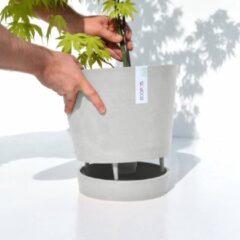 Witte Ecopots Venice met onderschotel+waterreserve Whitestone 30cm