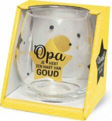Miko Wijn -Waterglas Opa hart van Goud Proost!