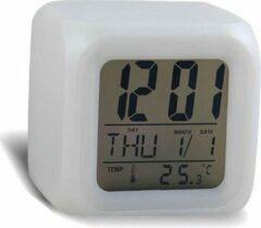 Paarse Heble Wekker Klok met 7 LED Verlichting Multikleur / Thermometer / Kalender