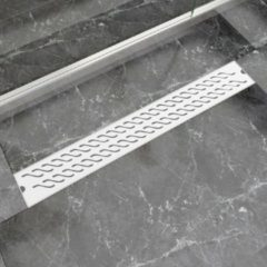 Roestvrijstalen VidaXL Doucheafvoer rechthoekig met golfjes 830 x 140 mm RVS