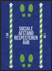 Blauwe MatStyles Vloerkleed Tapijt Message Mat - Sociale Afstand Respecteren AUB - 115x85 - COVID-19 -Wasbaar
