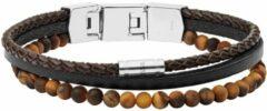 Fossil JF03616040 Armband Vintage Casual staal-leder zilverkleurig-bruin 18-19,5 cm