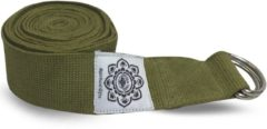 Groene Greentree® Olive Cotton Yoga 8 ft. strap with wrapped 1.5'' D-ring