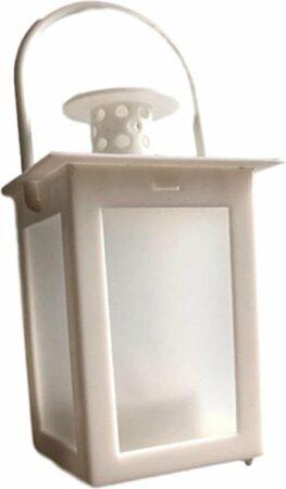 Afbeelding van Merkloos / Sans marque Mini lantaarn / olielamp met LED - Wit - Kunststof - Ø 7 x h 15 cm