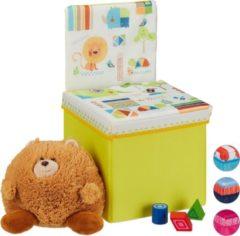 Gele Relaxdays opbergbox - opvouwbaar - kinderen - speelgoedkist - poef - hocker - opbergruimte Dieren