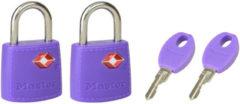 Master Lock hangslot met sleutel metaal paars 23 mm - 2 stuks