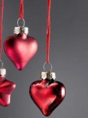 24tlg Baumschmuckset Herzen und Sterne Boltze rot