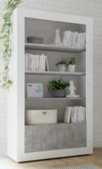 Pesaro Mobilia Open boekenkast Urbino 190 cm hoog in hoogglans wit met grijs beton