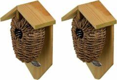 Bruine Decoris 2x Stuks houten vogelhuisje/nestbuidels zeegras 26 cm - Vogelhuisjes tuindecoraties - Winterkoning nestje